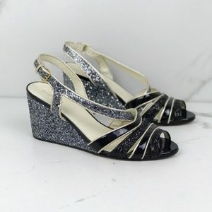 Miu Miu Glitter Silver Black Wedge Sandals Heels 8